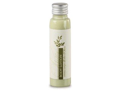 Crema corpo agli estratti di Olio d'Oliva, verde chiaro opaco, in flacone 35ml, tappo in alluminio.