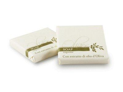 Sapone agli estratti di Olio d'Oliva 20g quadrato, incartato.