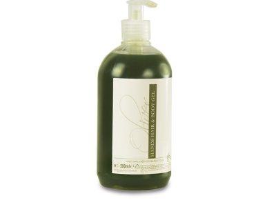 Flacone / refill da 500 ml in PE traslucido, tappo in PE trasparente con pompetta dosatrice, contenuto (hair-body-hands) fragranza all'olio d'oliva, colore verde oliva trasparente, soluzione con rabbocco.