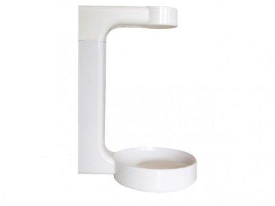 Staffa di ancoraggio a muro in ABS bianco, con sistema di fissaggio e chiavetta di sblocco compresi.