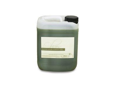 Tanica da 5 lt., contenuto (hair-body-hands) fragranza all'olio d'oliva, colore verde oliva trasparente.