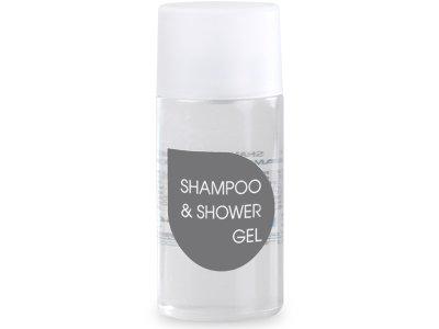 Shampoo doccia incolore trasparente in flacone 30ml.