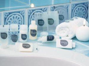 linea di cortesia shampoo, body lotion , hair conditioner, soap, bath salts, shower gel