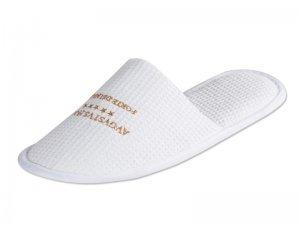 Pantofola personalizzata in cotone bianco a nido d'ape personalizzata con logo per hotel e B&B e centri benesere e spa