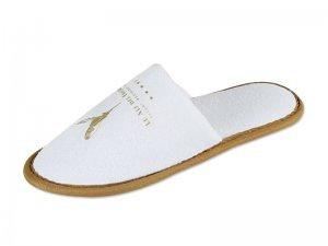 Pantofola in spugna bianca personalizzata con logo hotel modello STEPHY,