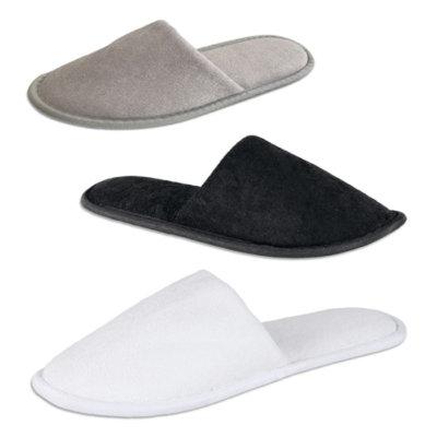 Pantofola in spugna per hotel modello Stephy disponibile in bianco e nero e tortora