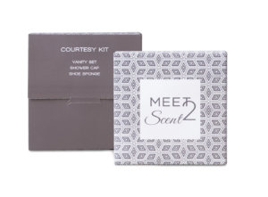 Courtesy kit linea di cortesia per hotel meet2scent karismaitalia karisma vanity set, shower cap, shoe sponge