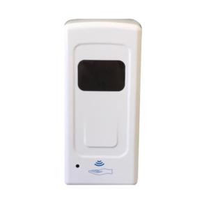 Dosatore di gel igienizzante a muro o con supporto in ferro colore bianco in ABS. Funzionamento a pile fino a 1L di capacità.