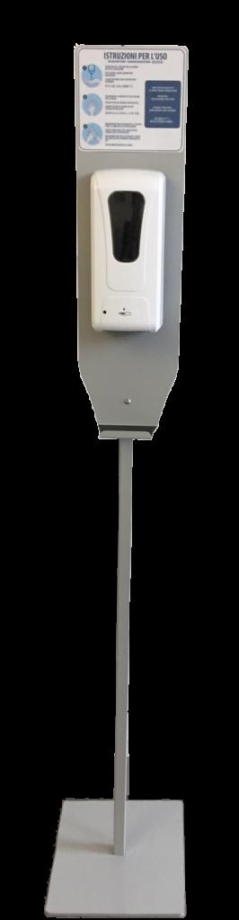 """Dispenser per gel igienizzante mani dotato di meccanismo di erogazione automatica """"No touch"""" con sensore a infrarossi montato su colonnina in ferro grigio"""