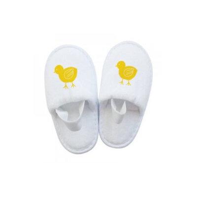 Pantofolina PULCINO in spugna bianca per bambino per hotel